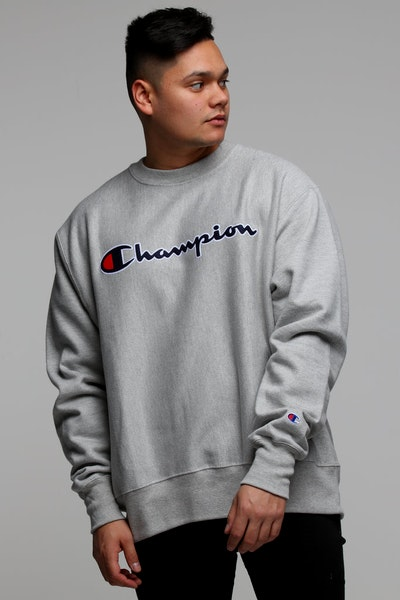 Champion Rev Weave Crew Script Grey