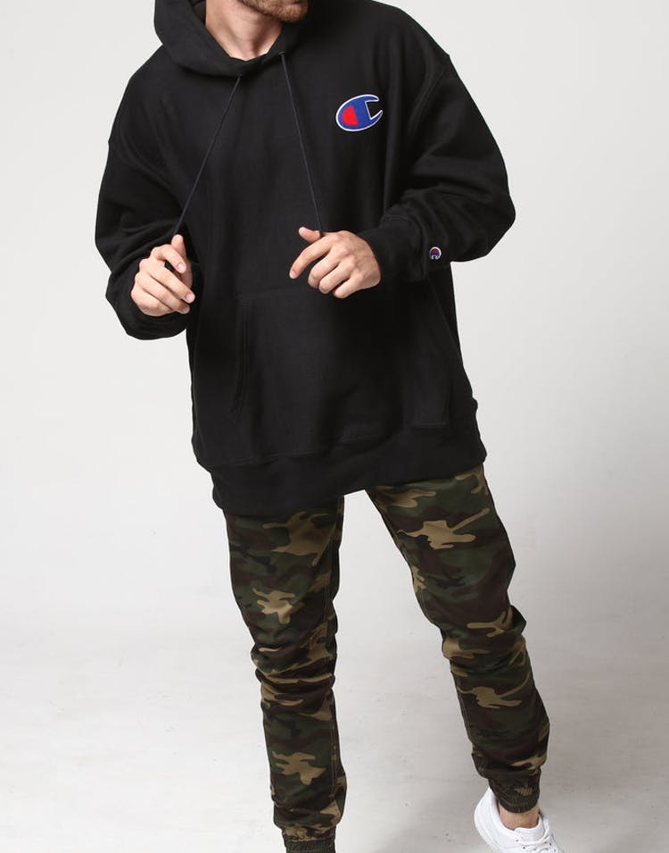 f1117603 Champion Reverse Weave Big C Hoodie Black – Culture Kings US
