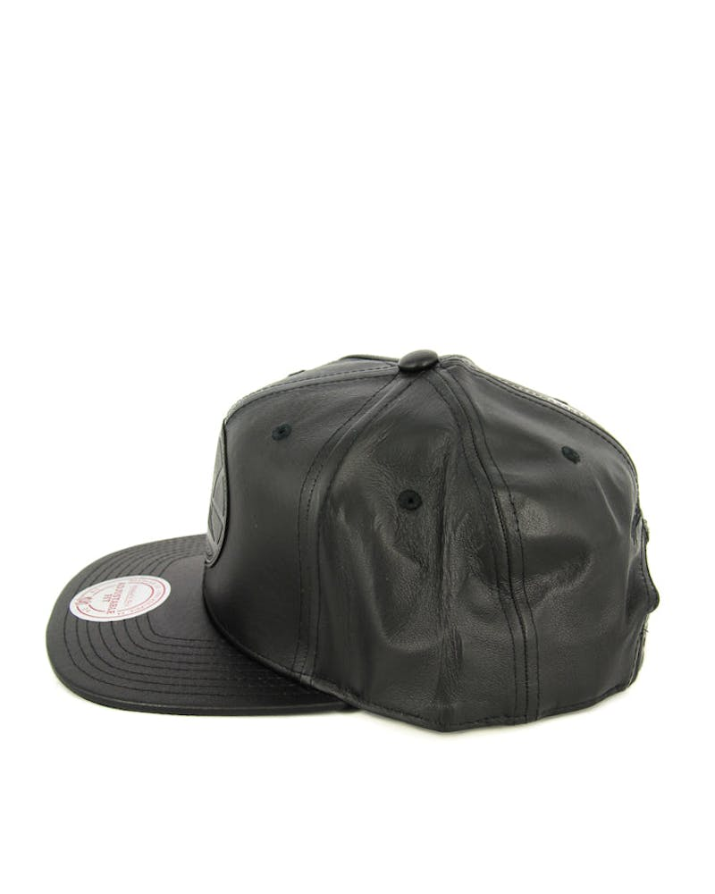 Mitchell & Ness Warriors Leather Snapback Black