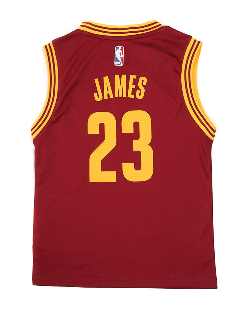 Adidas Cavaliers Replica Road Youth Jersey James 23 Burgundy