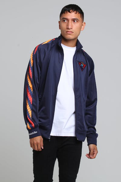 MITCHELL & NESS GOLDEN STATE WARRIORS PANEL TRACK JACKET NAVY