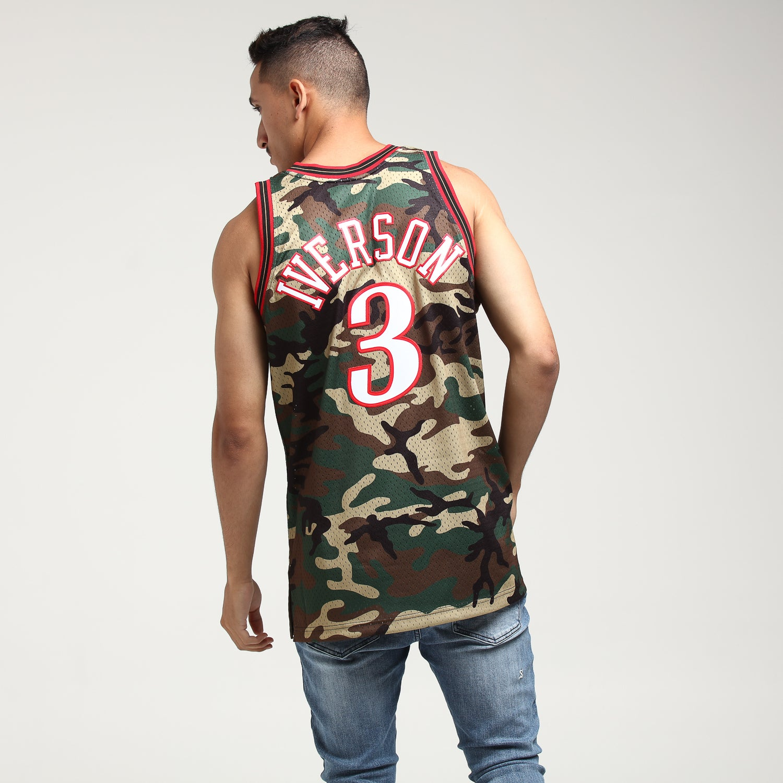 New Philadelphia 76ers #3 Allen Iverson Retro Basketball Jersey camouflage