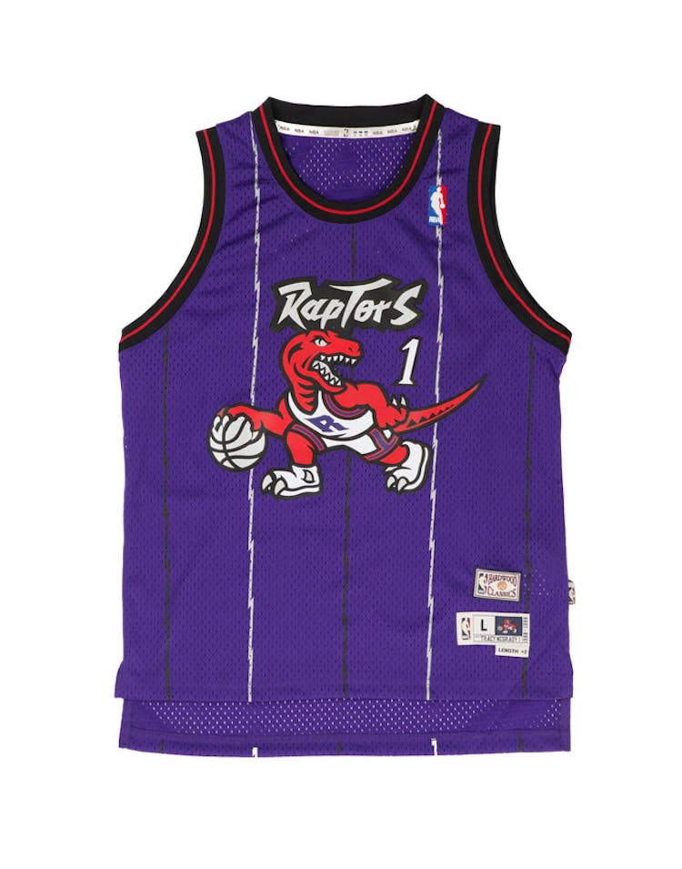 sale retailer 2e43e 678f1 Youth Toronto Raptors Tracy McGrady Hardwood Classics Swingman Jersey Purple