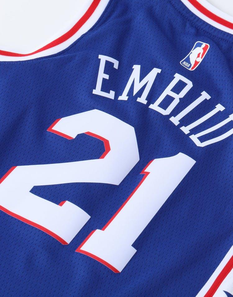 b15fad702d5 Nike Kids Philadelphia 76ers Joel Embiid #21 Icon Swingman NBA Jersey Navy