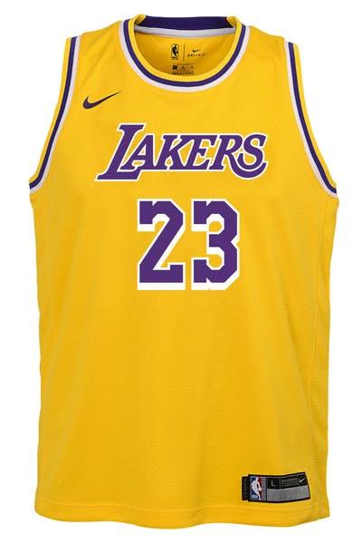 ab2a7d5a5 Nike Kids Los Angeles Lakers LeBron James  23 Icon Swingman NBA Jersey  Yellow