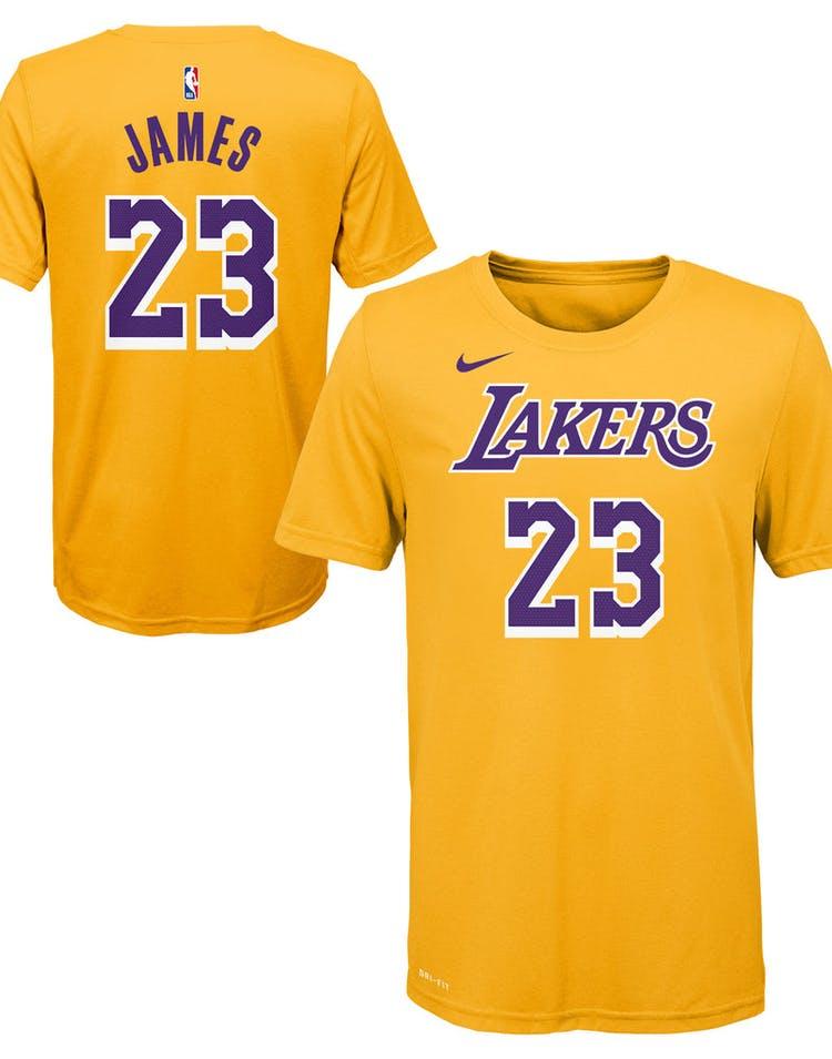 d8cddd55ca6 Nike Boys Los Angeles Lakers LeBron James  23 Icon N N Tee Yellow ...