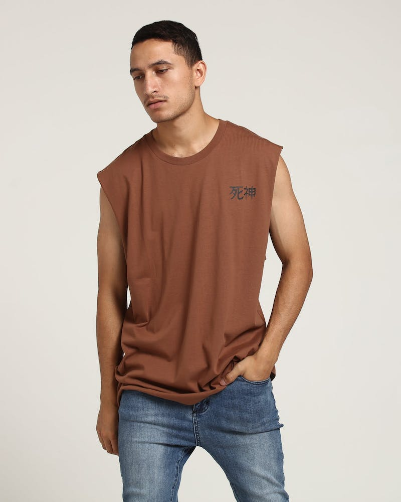 Saint Morta God Oversized Muscle Tee Brown