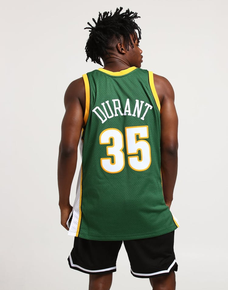 Mitchell & Ness Seattle Supersonics Kevin Durant #35 Swingman Jersey Green/White/Yellow