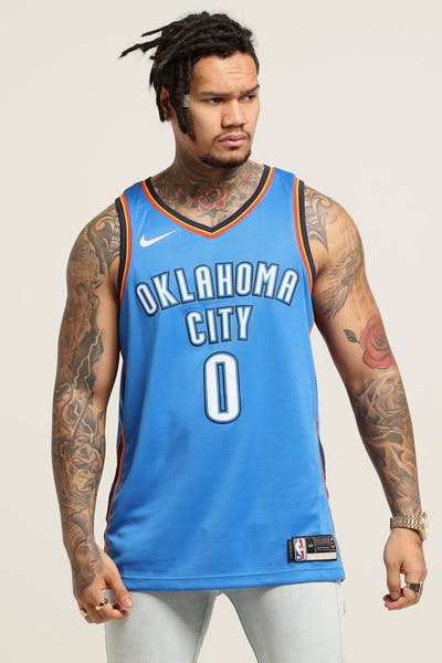 683a77e38 Russell Westbrook  0 Oklahoma City Thunder Nike Icon Edition Swingman  Jersey Blue Navy