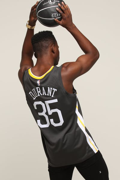 e9c61d128b4 Nike Golden State Warriors #35 Kevin Durant Alternate Swingman Jersey  Grey/White/Yellow