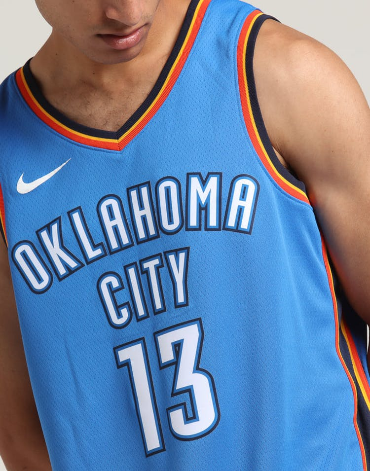 buy popular 27378 70721 Paul George #13 Oklahoma City Thunder Nike Icon Edition Swingman Jersey  Blue/Navy