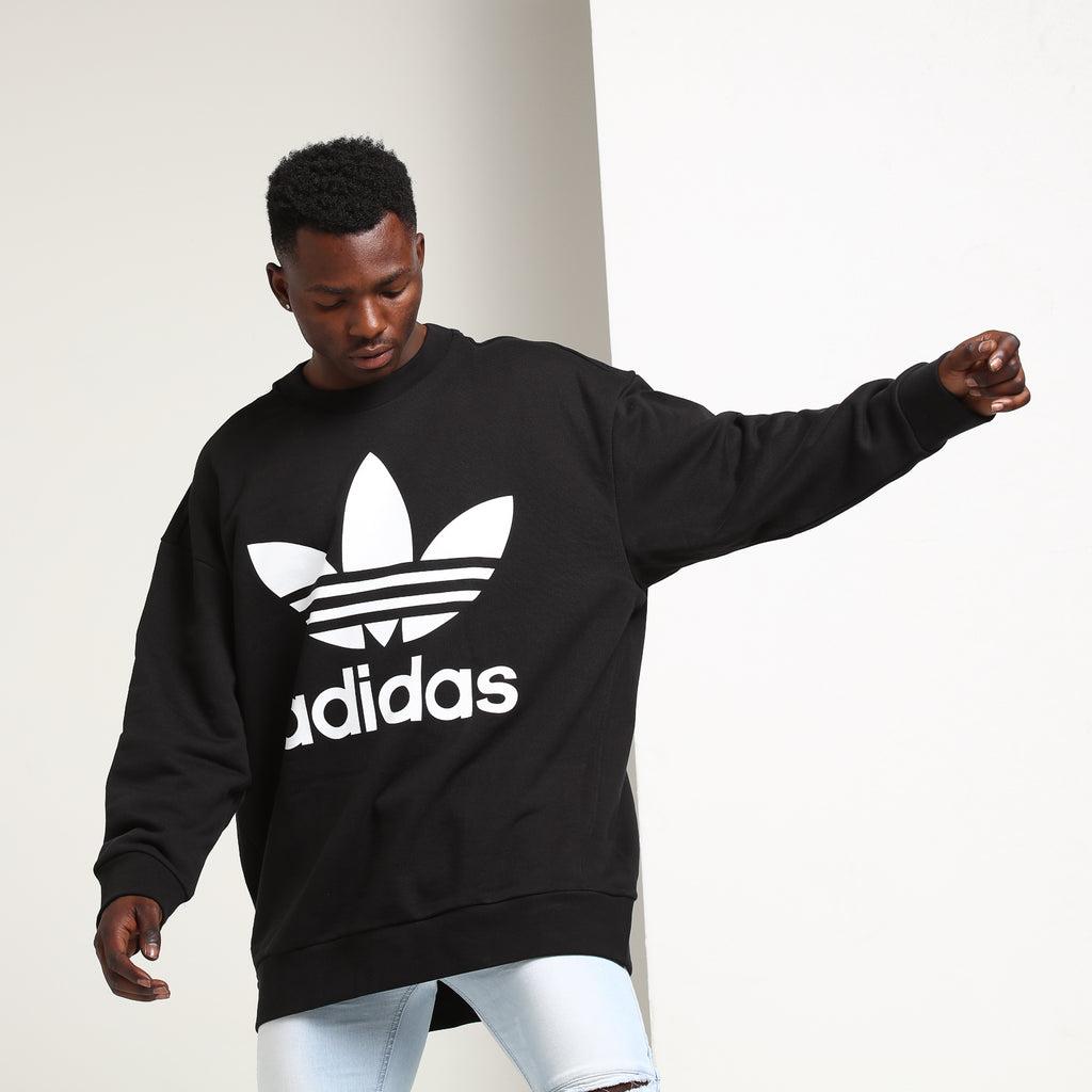 Adidas Trefoil Oversize Crew Sweatshirt Black