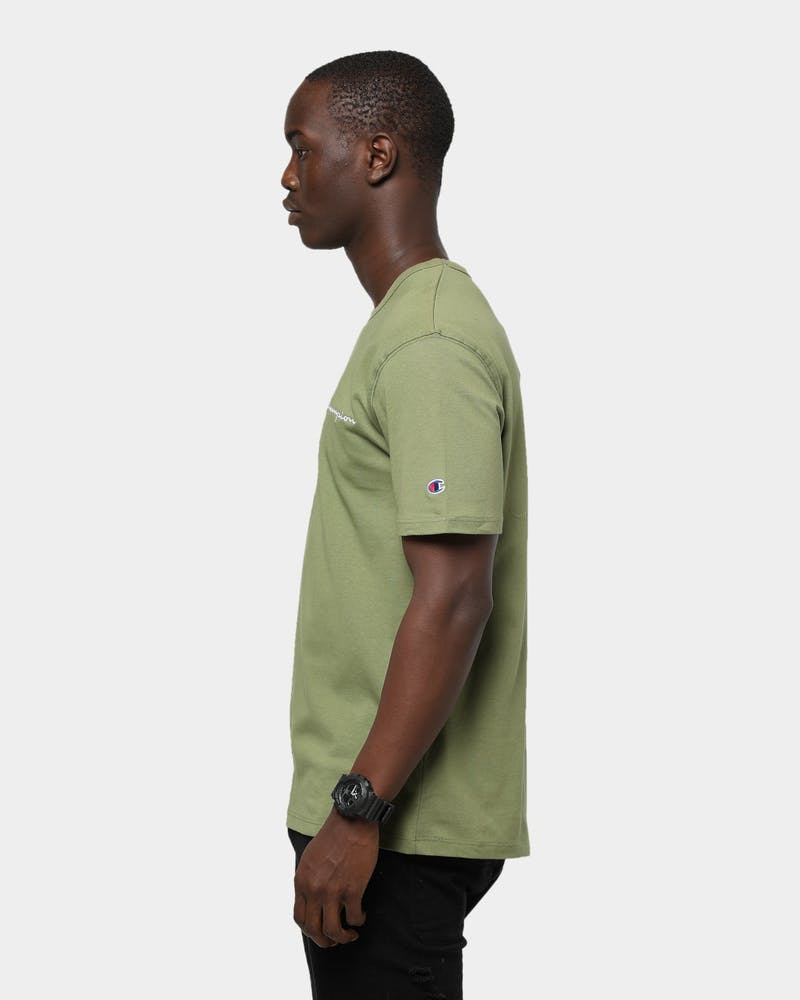 Men's Champion Heritage Embroidered Script T-Shirt Olive/Khaki