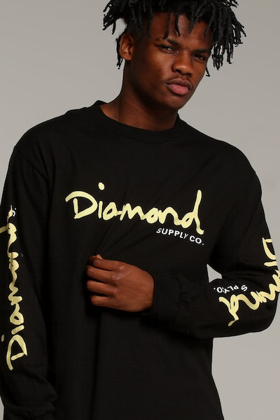 Diamond Supply OG Script L/S Tee Black
