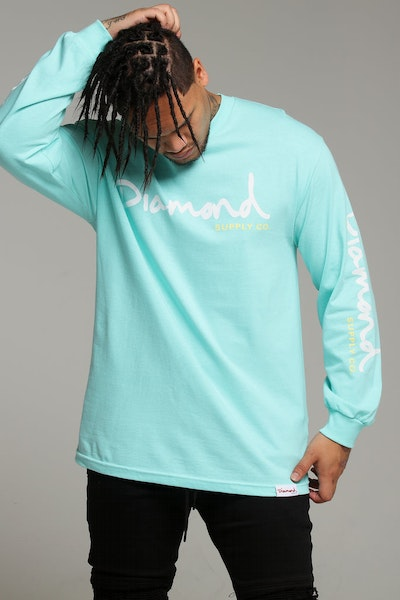 Diamond Supply OG Script L/S Tee Diamond Blue