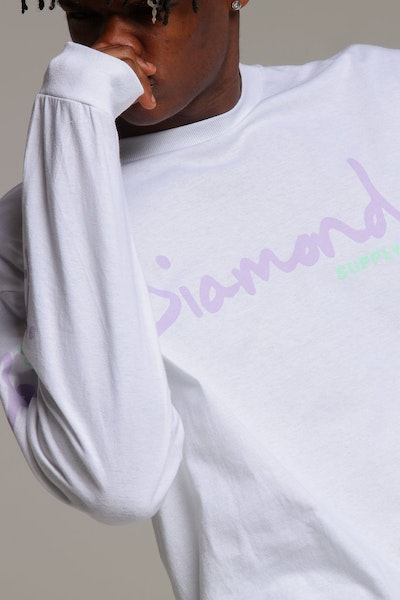 Diamond Supply OG Script L/S Tee White