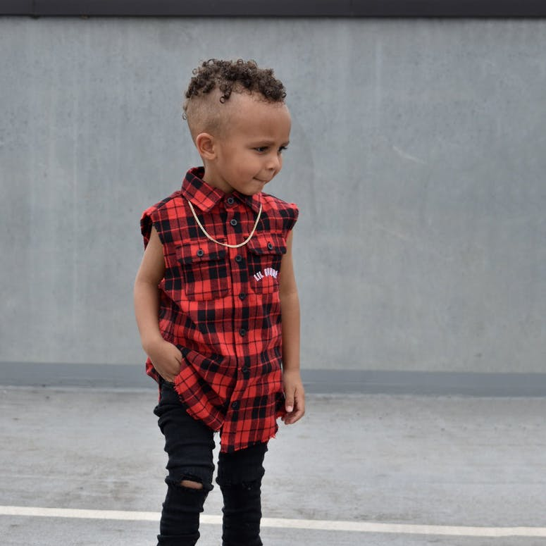 Lil Hommé Couper Cut Off Flannel Red/Black