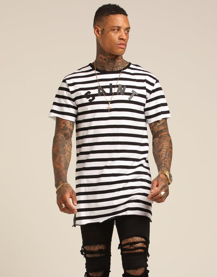 Saint Morta Estandar Stripe Tall Tee Black/White