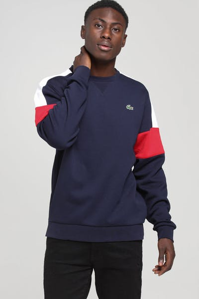 Lacoste Colour Block Crew Neck Sweat Navy/White/Red