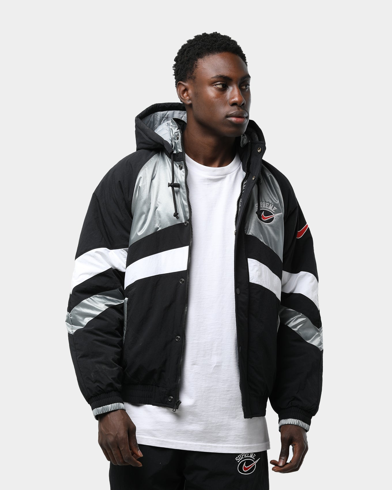 Supreme X Nike Hooded Sport Jacket Silver