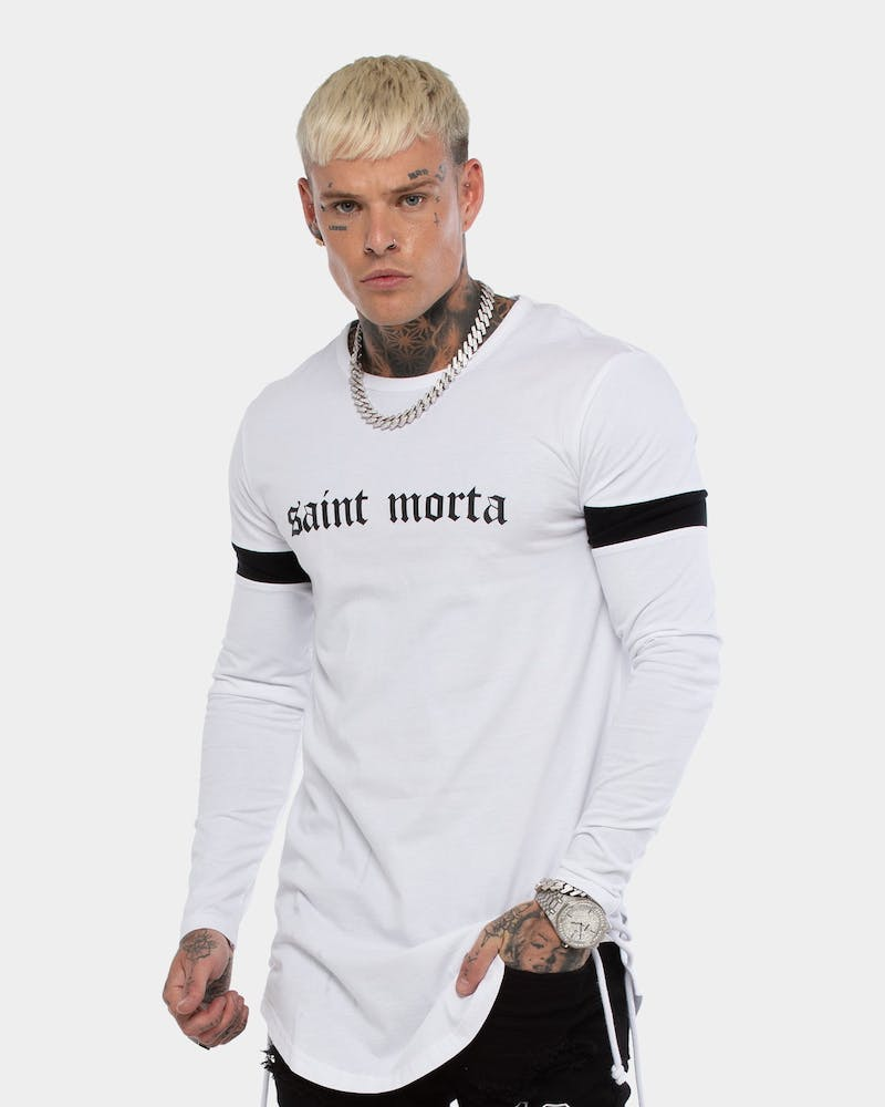 Saint Morta Men's Originale LS Rope Panel Tee White/Black