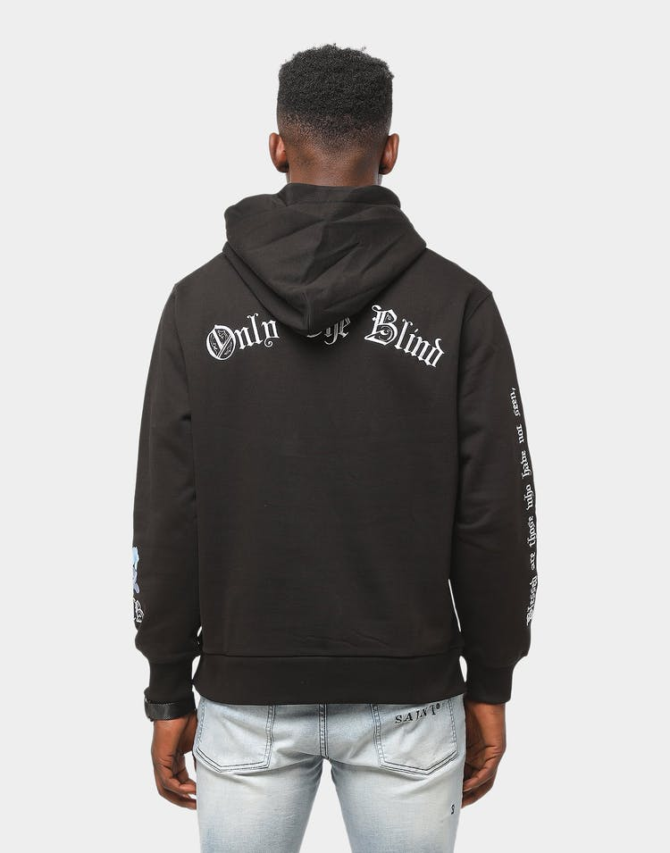 Only The Blind Black Floral Hood Black