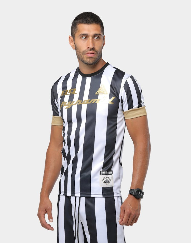 Black Pyramid Vert Stripe Soccer Jersey White/Black