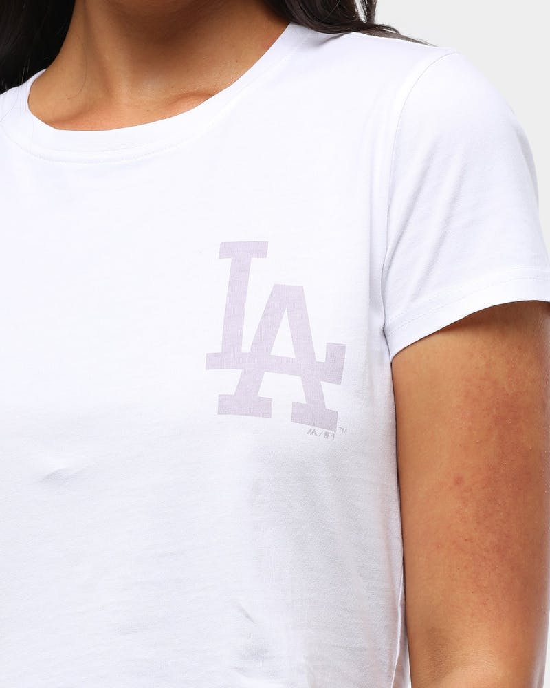 Majestic Athletic Women's Los Angeles Dodgers Wash Back Crop Tee White