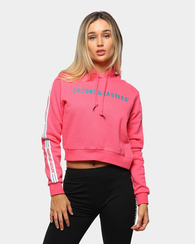 Crooks & Castles Women's Illuminate Cropped Hoodie Punch