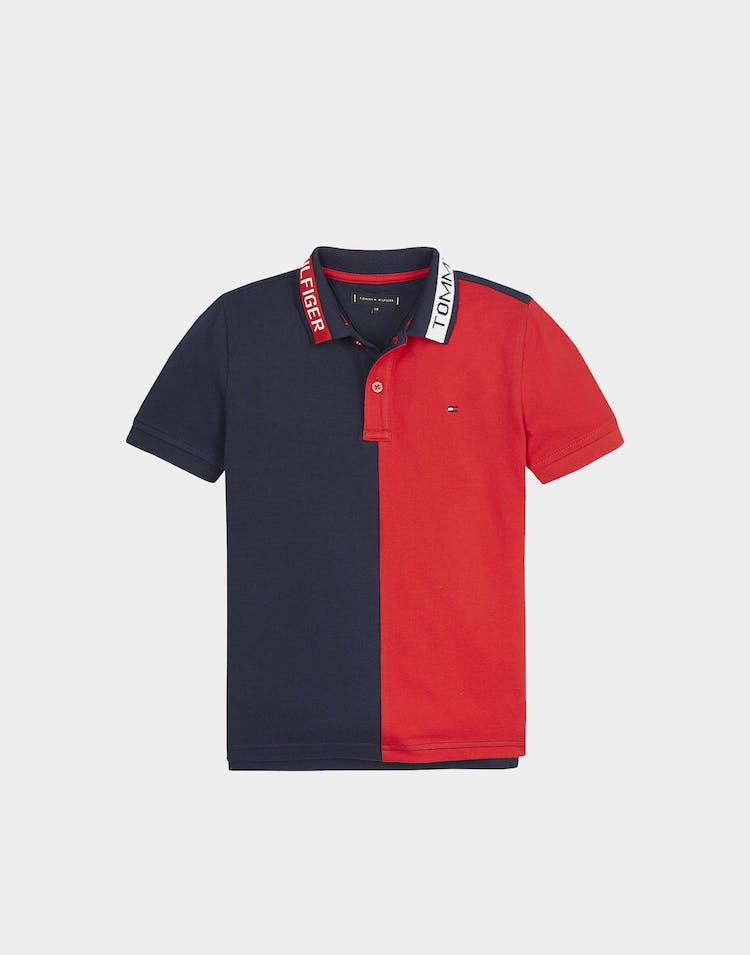 Tommy Jeans Kids Colorblock SS Polo Red/Black Iris