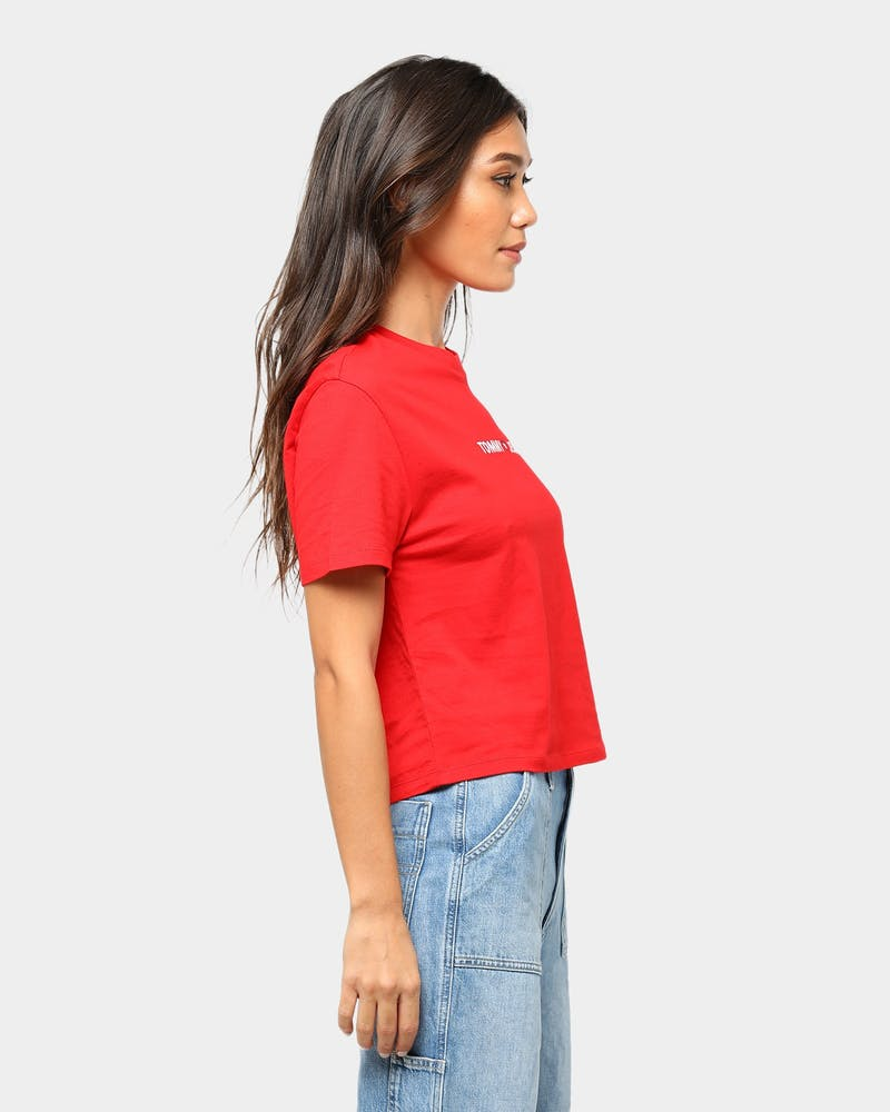 Tommy Jeans Women's TJW Linear Logo Detail Tee Red