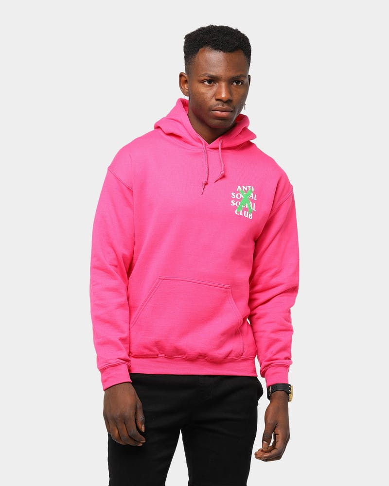 Men's Anti Social Social Club Cancelled Remix Hoodie Hot Pink