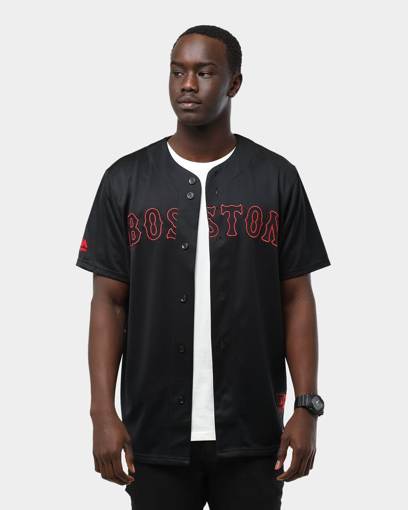 Majestic Athletic Boston Red Sox B&R Wordmark Replica Jersey Black