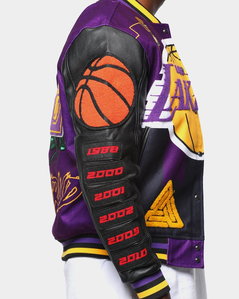 Men's Black Pyramid Los Angeles Lakers Logo Varsity Jacket Yellow