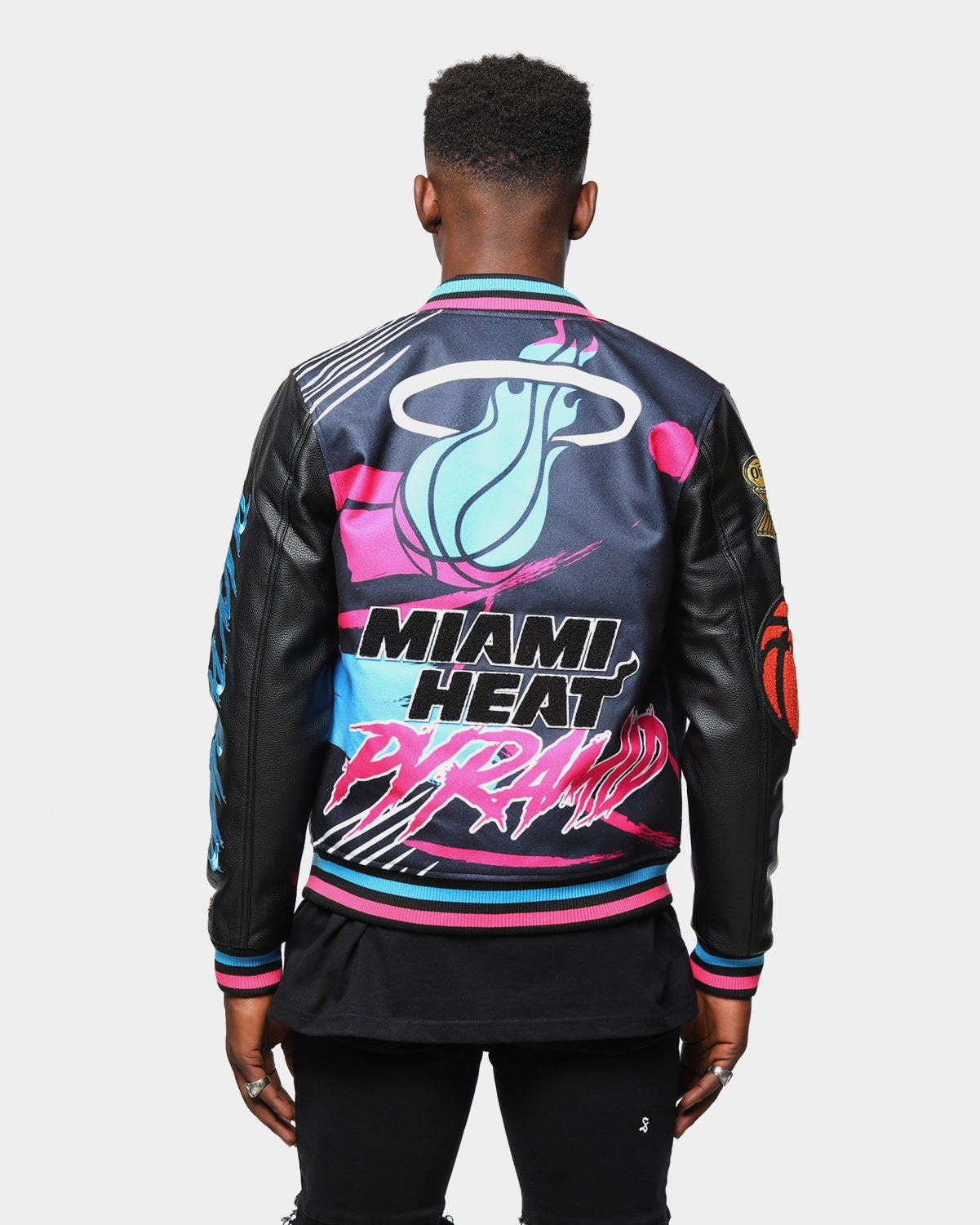 Men S Black Pyramid Miami Heat Vice Logo Varsity Jacket Black Culture Kings Us