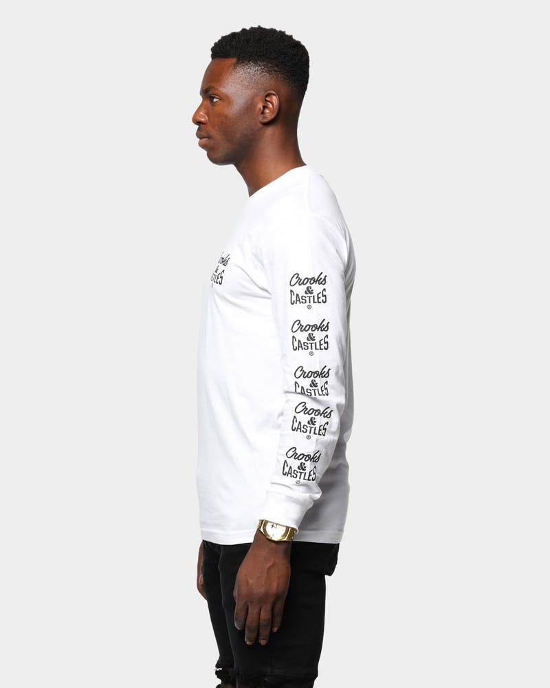 Men's Crooks & Castles Repeat Logo Long Sleeve T-Shirt White