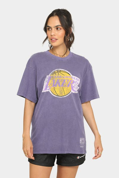 Mitchell & Ness Los Angeles Lakers Oversized TM CLR Logo Vintage T-Shirt Faded Purple