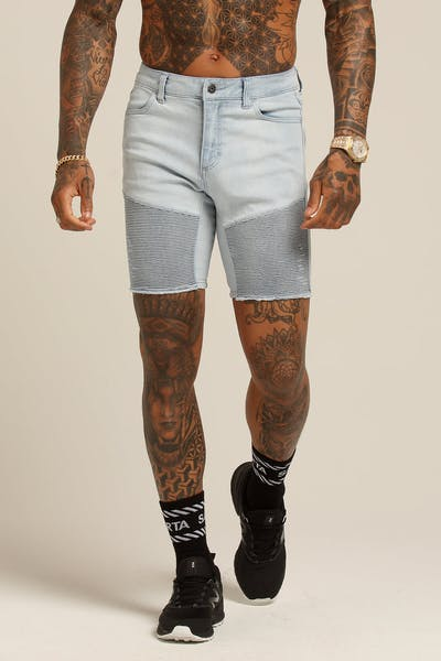 Saint Morta Distressed Biker Short Light Blue