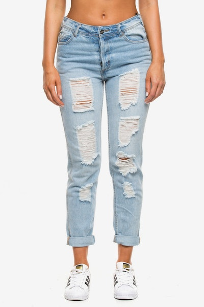 Nana Judy Women's Bonnie Boyfriend Jean Indigo Denim