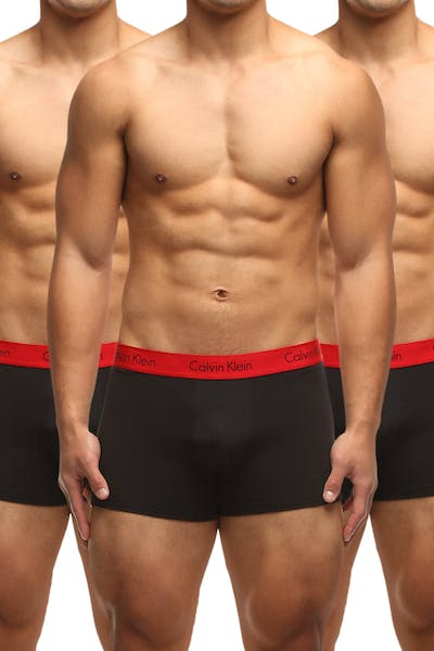 Calvin Klein Mens Stretch Pro Trunk 3 Pack Black/Red