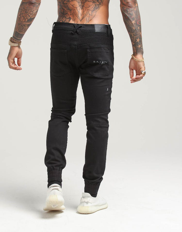 Saint Morta Motorista Biker Jean Black