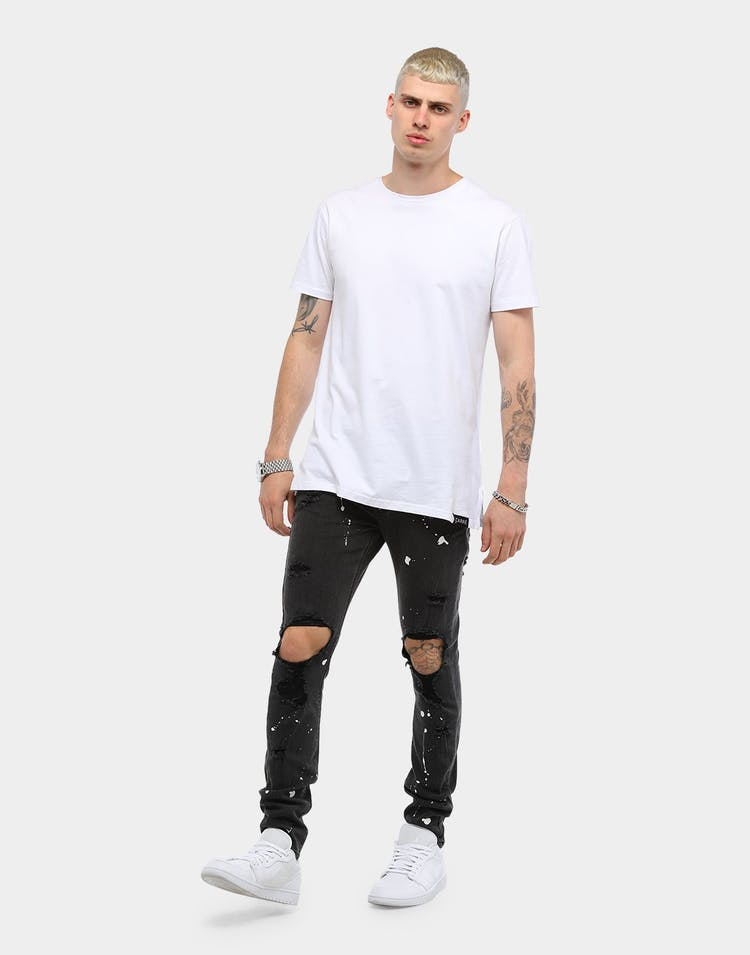Carré Splatter Endommage Jean Washed Black
