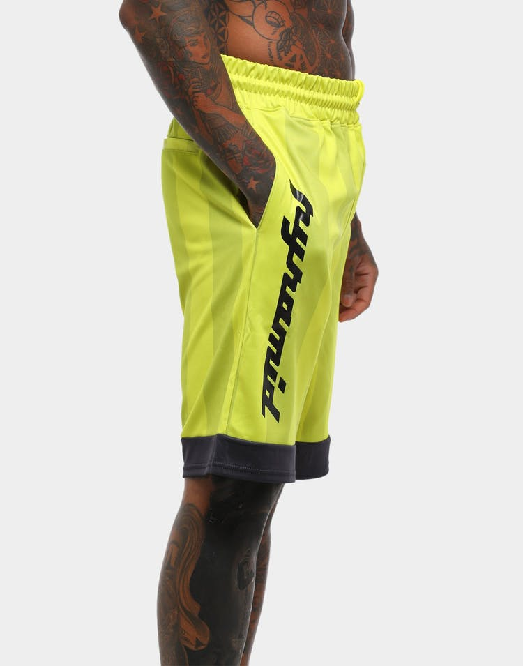 Black Pyramid Vert Stripe Gloss Soccer Short Volt