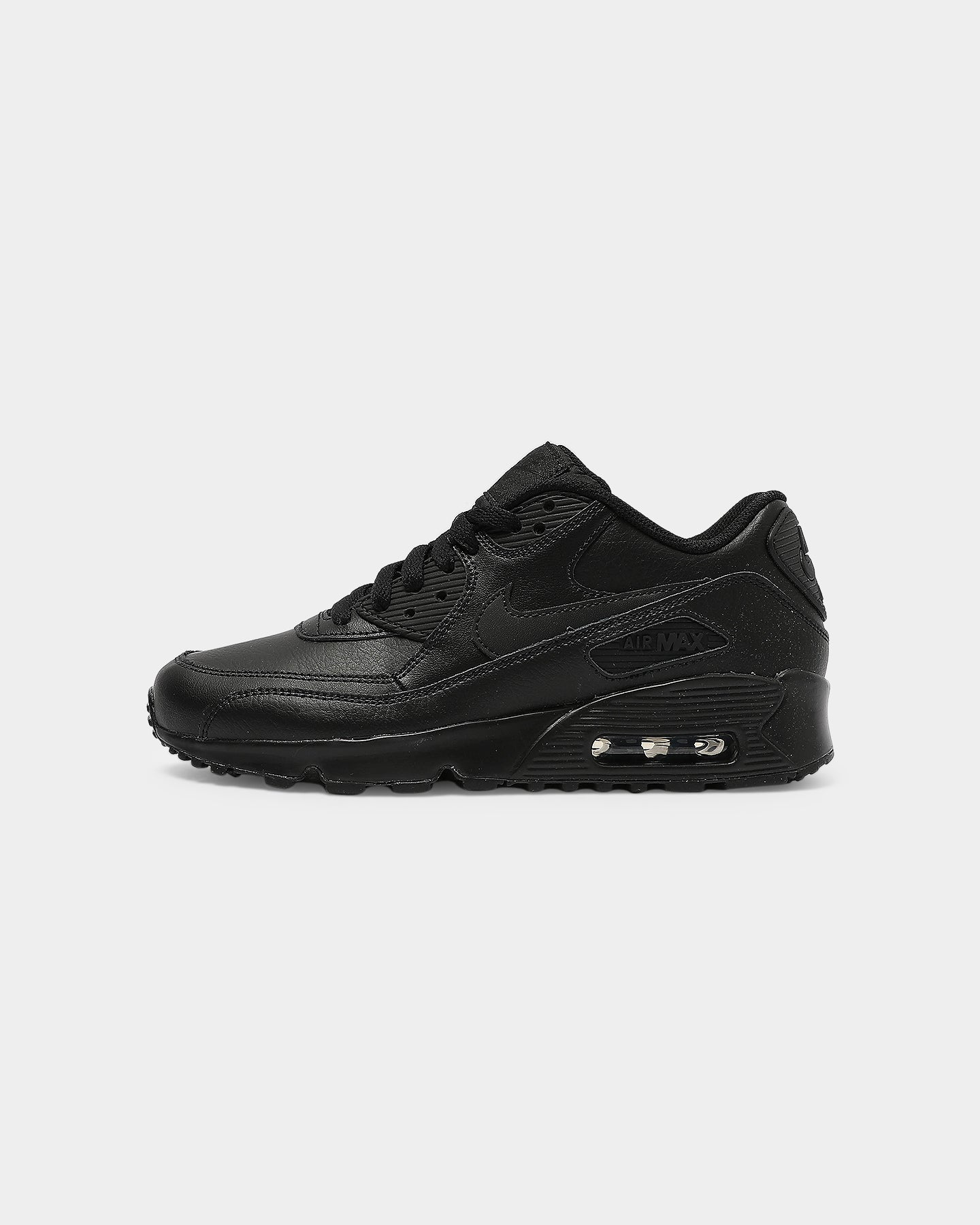 Nike Air Max 90 Leather Older Kids' Shoe BlackBlack | 833412 001