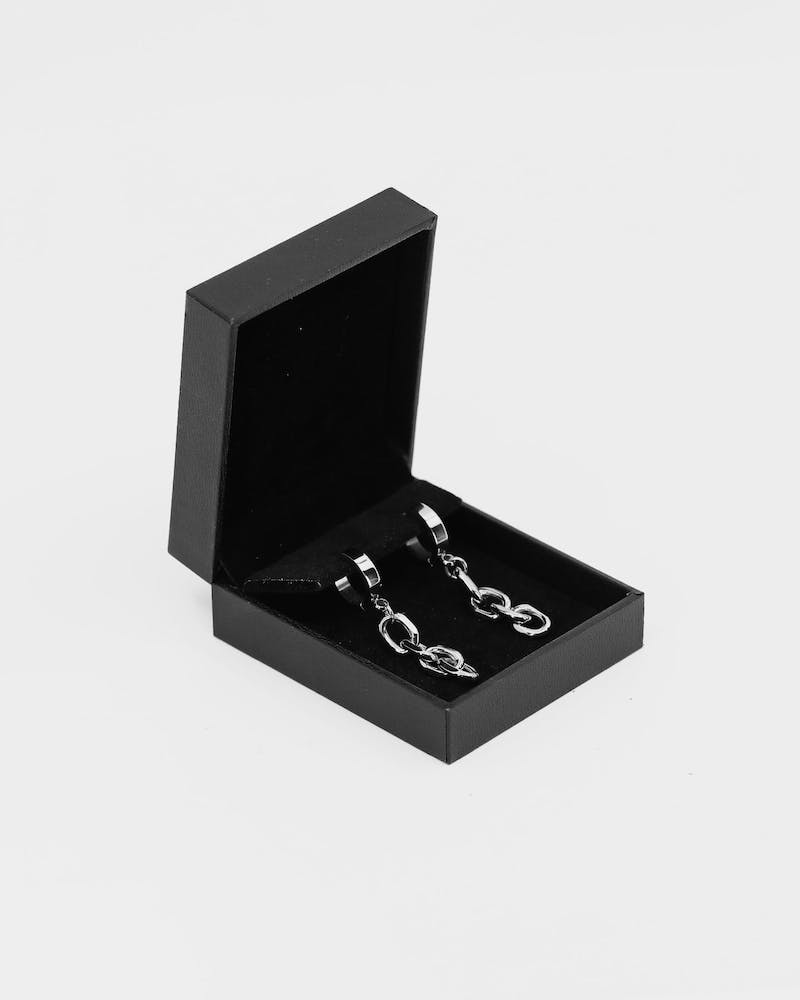 Carré Chain Gang Earrings Silver