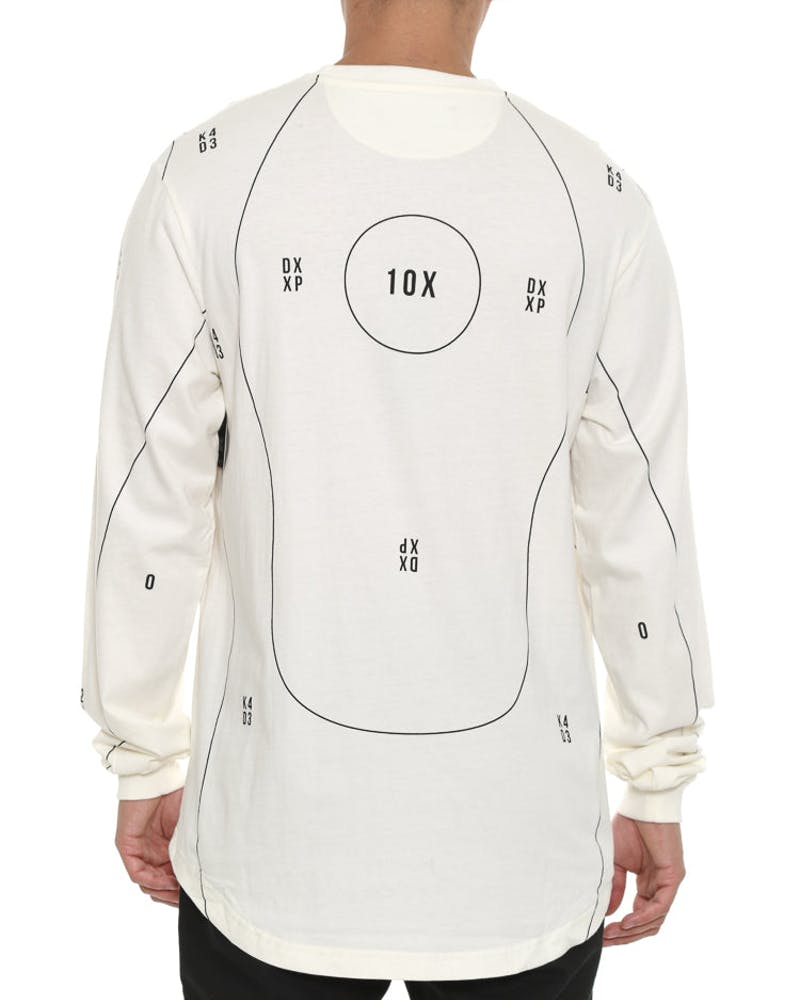 Targeted Long Sleeve Tee White
