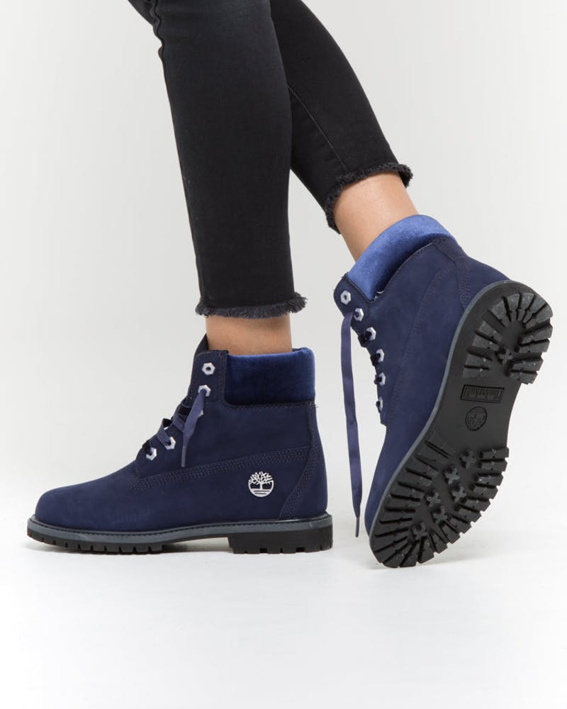 Timberland Women's 6 Inch Premium Boot Velvet Collar Dark Blue