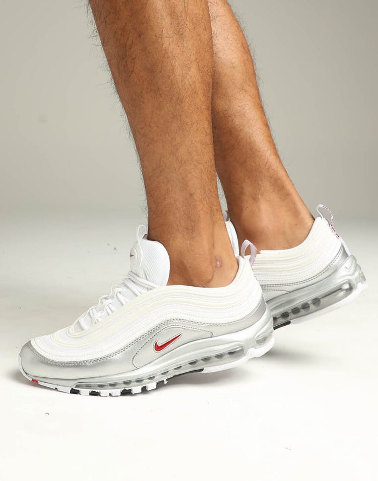 performance sportswear big sale online store Nike Air Max 97 QS White/Red/Silver