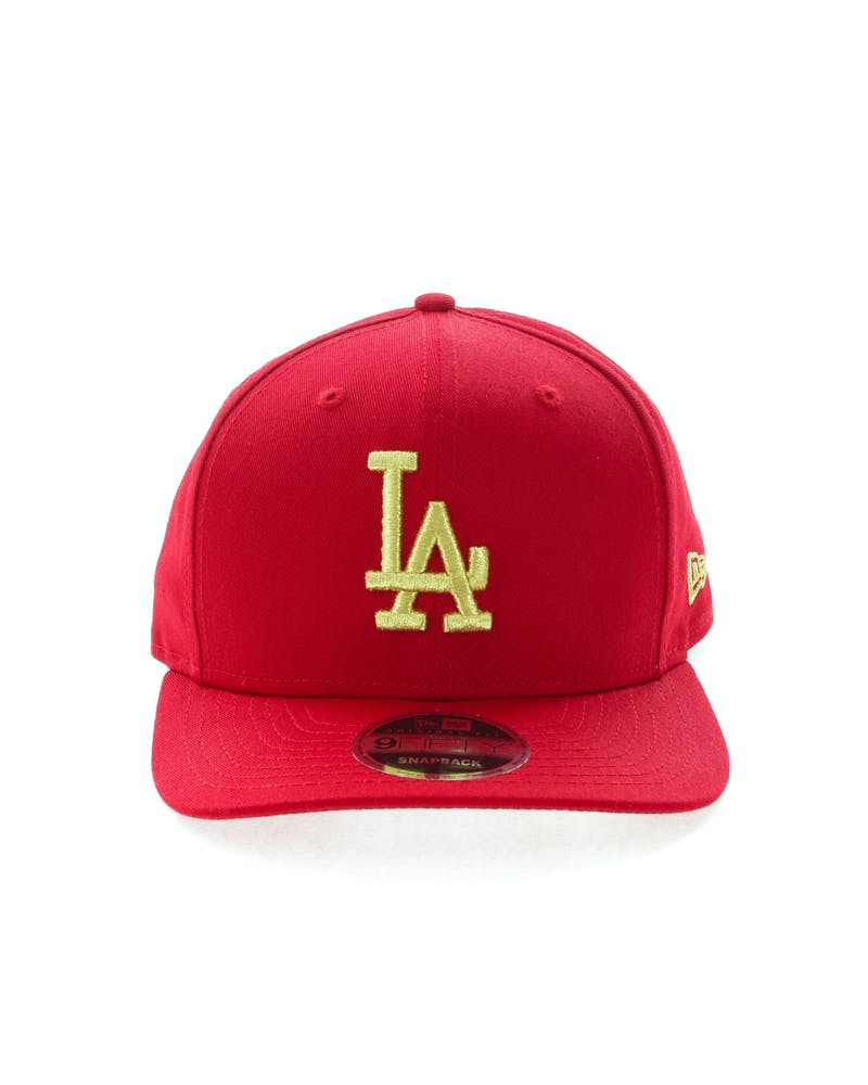 New Era Dodgers 9FIFTY Original Fit Precurve Snapback Scarlet/Gold