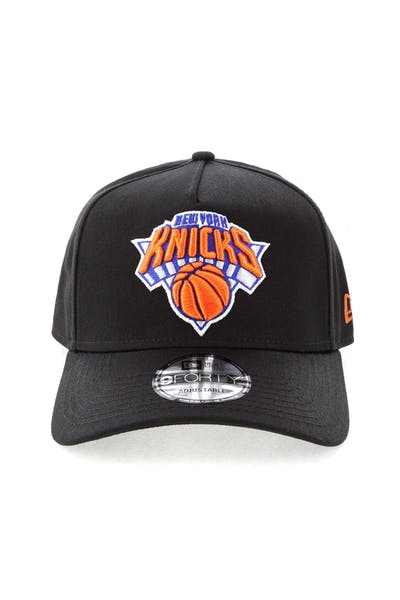 official photos eec8c 10159 New Era New York Knicks NBA 9FORTY A-Frame Snapback Black ...